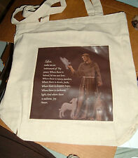 SAINT FRANCIS TOTE New 13 by 13 by 4 inch CANVAS Carry All Bag LORD MAKE PEACE