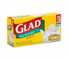 Glad Quick-Tie Tall Kitchen Trash Bags, 13 Gal, 15 Ct (Pack of 12)
