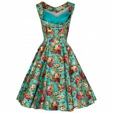 NEW VINTAGE 50'S STYLE OPHELIA TURQUOISE FLORAL PARTY SWING DRESS SIZE P12