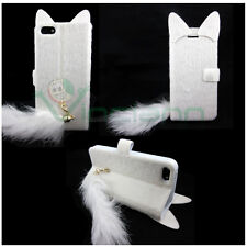 Custodia BOOK Gatto Pelosino peluche p iPhone 5 5s stand Bianco libro coda cover