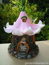 FLEUR LILY Fairy Garden Solar Light LED lluminated House Pixie Minature Ornament