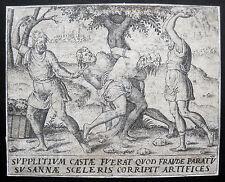 Susanna Steinigung der beiden Alten Stoning Lapidation Susanne Kupferstich 1600