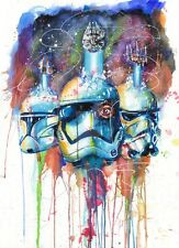 STAR WARS STORM TROOPER WATERCOLOUR ART IMAGE A4 Poster Gloss Print Laminated