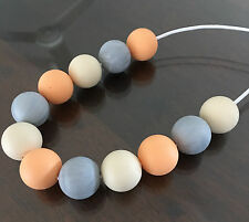 Teething Necklace Nursery Sensory Baby Showers Sillicone Beads Cream Peach Grey