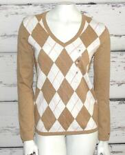 TOMMY HILFIGER~NWT~TAUPE~ARGYLE~CASUAL/CAREER~V-NECK~KNIT PULLOVER SWEATER~M