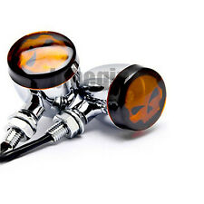 2x Motorcycle Chrome Bullet Skull Shadow Turn Signal Indicator Amber Light Cool