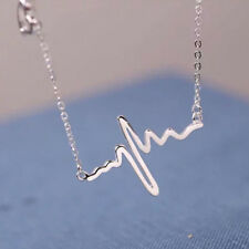 Women Heart Beat Pendant Necklace Stainless Steel Choker Collar Jewelry Necklace