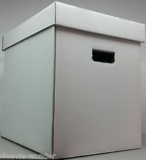 "10 BOXES + LIDS white cardboard storage for Vinyl LP Records 12"" 33rpm & 78rpm"