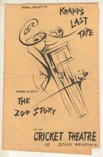 """The Zoo Story""  ""Krapp's Last Tape"" Playbill 1961 Off-Broadway  Albee, Beckett"