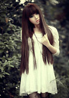 Brown Women Fashion Cosplay Party Long Straight Synthetic Hair Lolita Full Wig