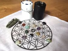 Crystal Grid  -Cloth, Candles, Stones, & Smudge ( A Crystal Healing Starter Kit)