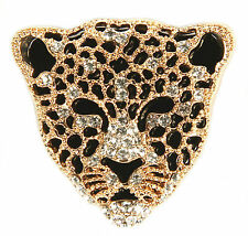 CherriKiss Polished Leopard Gold Metal Brooch Pin With Clear Crystals
