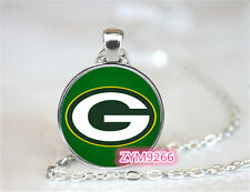Green Bay Packers NFL Football Chain Pendant Glass Cabochon Photo necklace