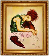 Ölbild Egon Schiele Frau des Künstlers Ölgemälde HANDGEMALT, Oelbild 50x60cm