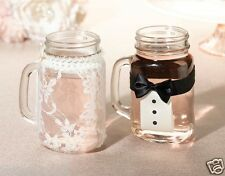 New wedding bride and groom dress and tuxedo drink glass covers