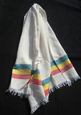 Ethiopian hand woven cotton scarf, Rasta color green yellow red stripe scarve