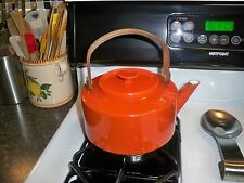 Vintage Copco Orange  Enameled Teapot, Bamboo Handle, Michael Lax Design,  NR!