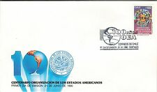 Chile 1990 FDC Centenario Organizacion de los Estados Americanos OEA