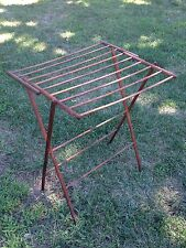 Antique Primitive Folding Clothes Drying Rack Wooden Laundry Room Decorative