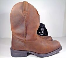 Mens Ariat Square Toe Cowboy Western Brown Leather Pull On Boots size 10 EE