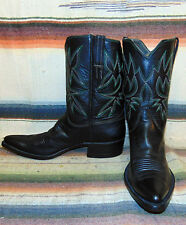Vintage Black Leather Handmade Shorty Cowboy Boots 8.5 D Excellent Used Cond