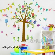 Birthday Party Tree Bird House Flag Wall Decal Removable Stickers Kids Decor Art
