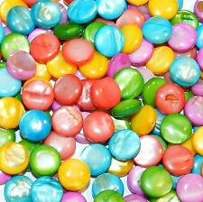 MPX2495 Assorted Color 12mm Puffed Flat Round Mother of Pearl Shell Beads 100pc