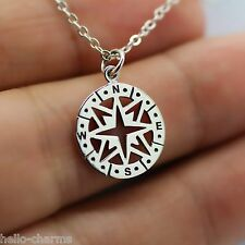 COMPASS NECKLACE - 925 Sterling Silver - Compass Charm Direction Nautical *NEW*