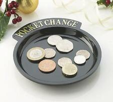2X BLACK COIN TRAYS CADDY PLATE LOOSE CHANGE CAR HOUSE KEYS TRINKETS MONEY
