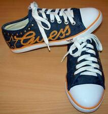 GUESS womens Remarta denim studded lace up fashion sneakers dark blue Size 8.5 M