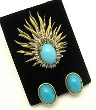 Vintage JOMAZ Set Lovely Brooch and Earrings Turquoise Cabochons Rhinestones
