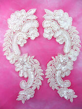 0180 Sequin Appliques Ivory Mirror Pair Beaded Patch Sewing Crafts Motif 8.25""
