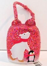 BATH & BODY WORKS RED SPARKLING POLAR BEAR & PENGUIN POCKETBAC SANITIZER HOLDER