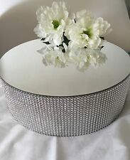 MIRROR CAKE/CUPCAKE STAND ROUND SILVER WITH RHINE STONE 12 Inches