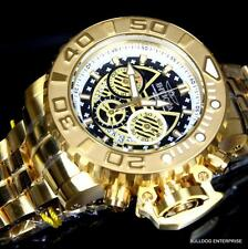 Invicta Sea Hunter III Black 70mm Full Sized Swiss 18kt Gold Plated Watch New