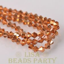 New Arrival  200pcs 3mm  Bicone Faceted  Loose Spacer Glass Beads Rose Gold