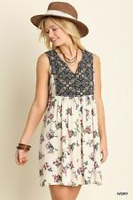 UMGEE Ladies Boho Chic Ivory Floral Print Sleeveless Country Dress Tunic L