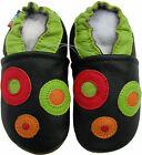 carozoo circles black 18-24m soft sole leather baby shoes