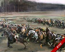 FLOWERDEWS CAVALRY CHARGE VS GERMAN MACHINE GUNS WWI PAINTING CANVAS ART PRINT