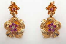 Antique 1950s 2ct Natural Ruby Diamond 14k Yellow Gold Dangle Flower Earrings