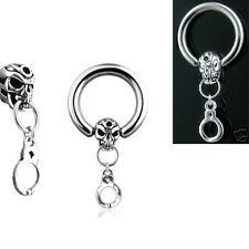 "Pair 14g 1/2"" Skull & Cuff Dangle Captive Rings, Nipple Rings, Belly Rings"