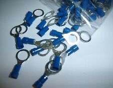 "100 3/8"" Blue 16-14 Ga AWG Gauge Car Power Wire Ring Terminals Connectors Crimp"