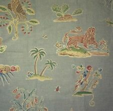CLARENCE HOUSE Knole House Floral Animal Blue Linen Cotton England Remnant New