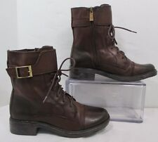 Vince Camuto Taryn Brown Leather Side Zip Front Lace Ankle Boots Sz 6M