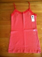 GAP WOMENS CORAL AND WHITE STRIPED CAMI TANK TOP $19.50 SIZE MEDIUM BNWT