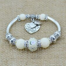 Sterling Silver Charms Heart Bracelet White Beads Crystals 1 size fits all