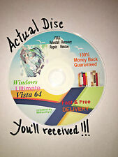 WINDOWS Vista Ultimate 64-bit Restore ReINSTALL Recovery Rescue Disc wHD