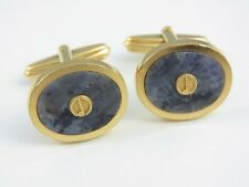 dunhill Gold Plated and Marble Gray Oval Cufflinks