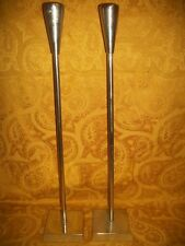 "Set of 2 Vintage 25"" Taper Candle Holders W/Floor Bases, Made in India"