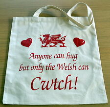 """""""ONLY THE WELSH CAN CWTCH"""" design Canvas Dragon Shopping BAG , Cymru, Wales"""